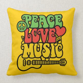 Amor y música de la paz de Rasta Cojín Decorativo