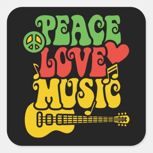 Amor y música de la paz de Rasta Colcomanias Cuadradases