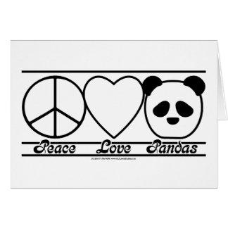 Amor y pandas de la paz tarjetas