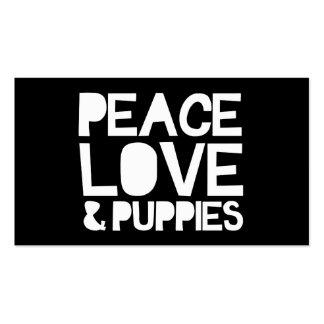 Amor y perritos de la paz tarjetas de visita