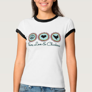 Amor y pollos de la paz camiseta