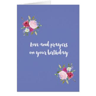 Amor y rezos - rosas del cumpleaños de la acuarela tarjeta de felicitación