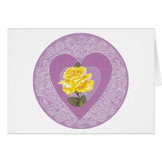Amor y tarjeta de felicitación de los rosas