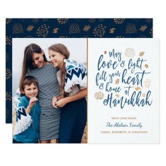 Amor y tarjeta ligera de la foto de Jánuca Invitación 12,7 X 17,8 Cm