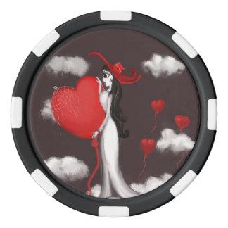 Amor y valenitne fichas de póquer