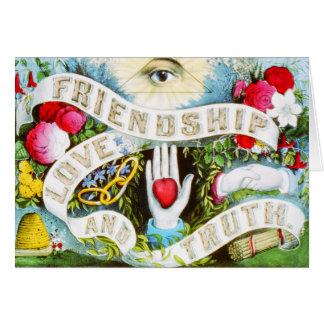 Amor y verdad - arte de la amistad del vintage tarjeta de felicitación