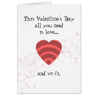 Amor y Wi-Fi - tarjeta romántica del el día de San