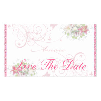 Amore floral - ahorre la tarjeta de fecha tarjetas de visita