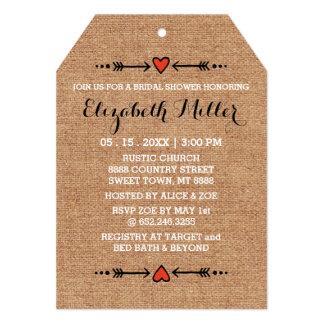 Amores rosados y ducha nupcial de la arpillera de invitación 12,7 x 17,8 cm