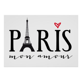 Amorío de París lunes con la torre de Eiffer Póster
