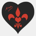 Amorío en forma de corazón de la flor de lis del pegatina en forma de corazón