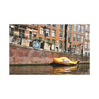 Amsterdam, canal, barco de madera del zapato lienzo