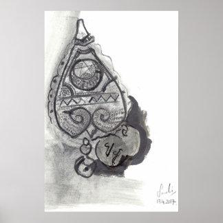 AMULETO: Impresión tribal de la bella arte del