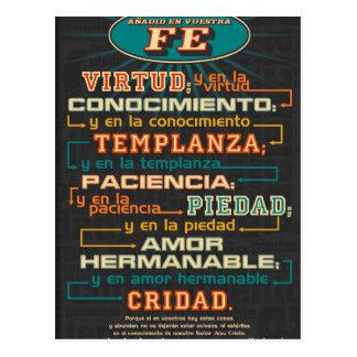 Añada a sus versos españoles de la biblia de la fe postal