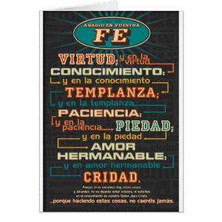 Añada a sus versos españoles de la biblia de la fe tarjeta de felicitación