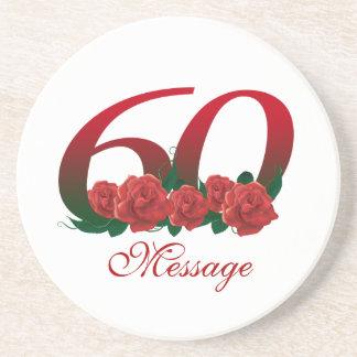 Añada el personalizado del número 60 del texto posavasos de arenisca