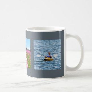 Añada su fondo azul del marco de las fotos taza de café