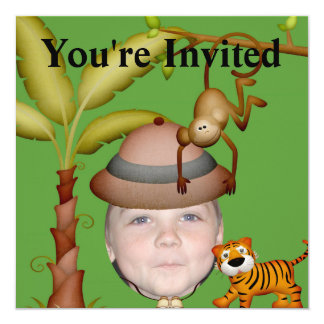 Añada su foto a un tema salvaje del safari de invitación 13,3 cm x 13,3cm