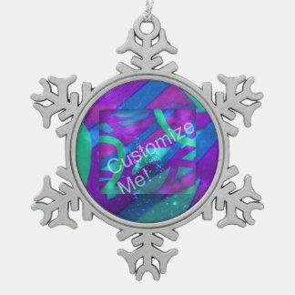 Añada su foto adorno de peltre en forma de copo de nieve