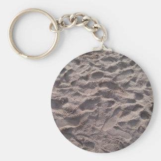 Añada su propio texto, escribiendo en arena, playa llavero redondo tipo chapa