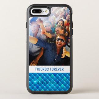 Añada sus escalas de pescados azules de neón de la funda OtterBox symmetry para iPhone 7 plus