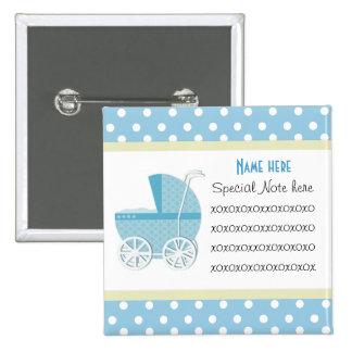 Añada un botón del carro de bebé azul de la nota
