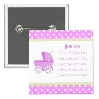 Añada un botón del carro de bebé del rosa de la no pins