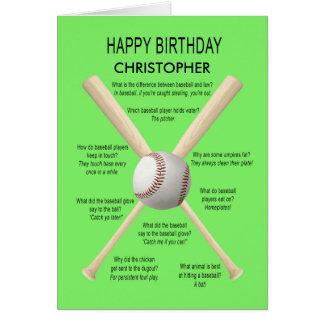 Añada un nombre, chistes del béisbol del tarjeta de felicitación