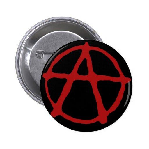 Anarquía. Camiseta negra con símbolo rojo Pins