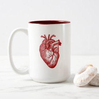 Anatomía del corazón del vintage taza de café de dos colores