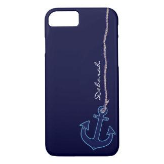ancla azul del marinero personalizada funda iPhone 7