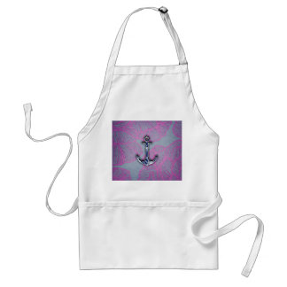 Ancla azul y púrpura de papel floral de moda delantal