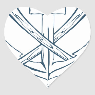 Ancla con las hachas cruzadas. Elementos del Pegatina En Forma De Corazón
