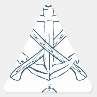 Ancla con las hachas cruzadas. Elementos del Pegatina Triangular
