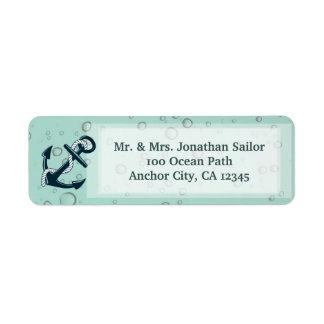 Ancla de hundimiento náutica personalizada etiqueta de remitente