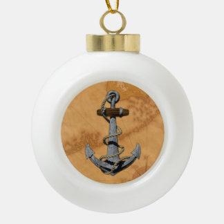 Ancla de la nave y mapa náutico adorno de cerámica en forma de bola