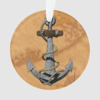 Ancla de la nave y mapa náutico