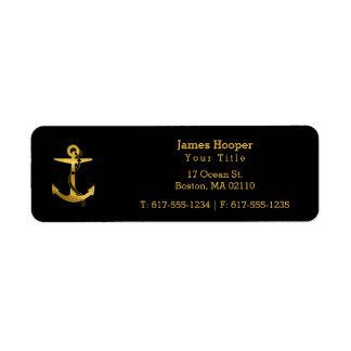 Ancla de oro con los regalos náuticos de la cuerda etiquetas de remite