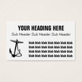 Ancla del vintage cuerda negras y blancas del tarjeta de visita