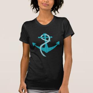 Ancla (impresión, turquesa del vintage) camisetas