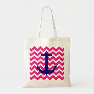 Ancla náutica azul y la bolsa de asas rosada de