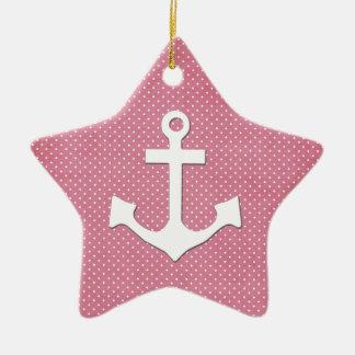 Ancla náutica blanca de los lunares rosados del adorno de cerámica en forma de estrella