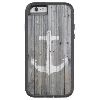 Ancla náutica blanca del vintage del inconformista funda de iPhone 6 tough xtreme