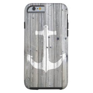 Ancla náutica blanca del vintage del inconformista funda de iPhone 6 tough
