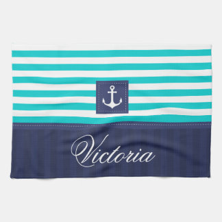 Ancla náutica de las rayas azules de la aguamarina paño de cocina
