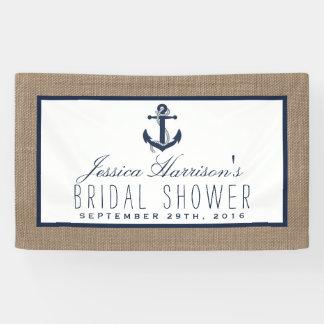 Ancla náutica de los azules marinos en ducha lona