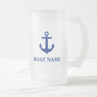 Ancla náutica del nombre del barco taza de cristal esmerilado