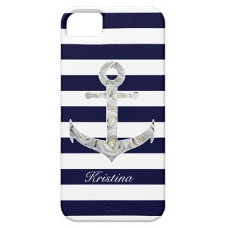 Ancla náutica del rosa blanco funda para iPhone SE/5/5s