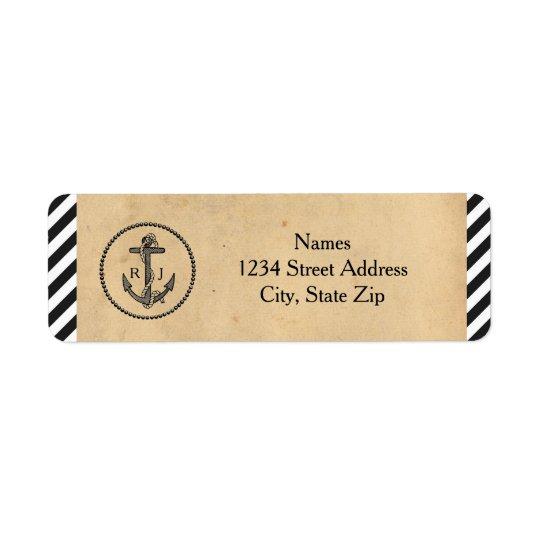 Ancla náutica del vintage - etiquetas de dirección