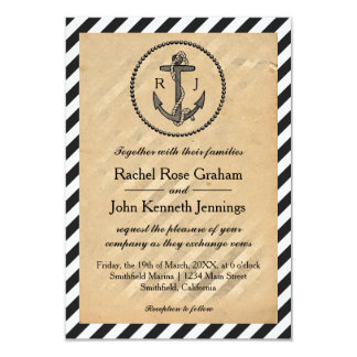 Ancla náutica del vintage - invitación del boda